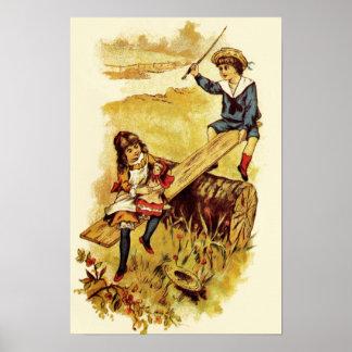 Crianças do vintage que jogam o balanço poster