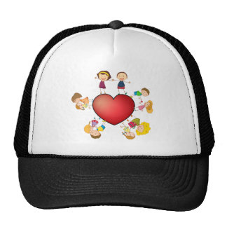 Crianças e coração boné