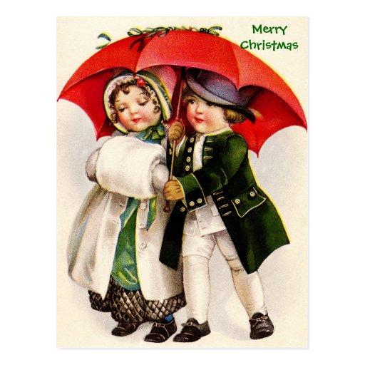 Crianças & guarda-chuva velhos do Victorian da ima Cartao Postal
