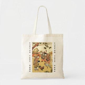Crianças japonesas e galo do ukiyo-e legal do vint bolsa de lona