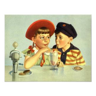 Crianças, menino e menina do vintage convites