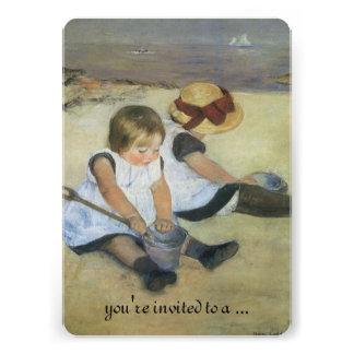 Crianças na praia por Cassatt chá de fraldas do Convites Personalizados