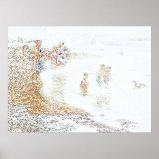 crianças no jogo na praia impressão