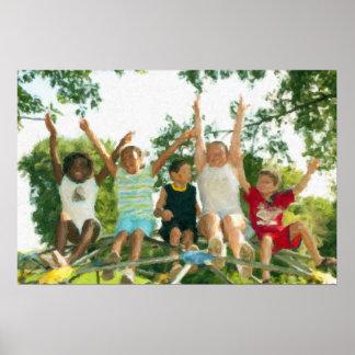 Crianças no poster do campo de jogos