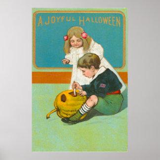 Crianças que cinzelam a abóbora da lanterna de Jac Poster