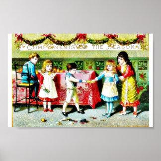 Crianças que jogam e que comem em um salão do come impressão