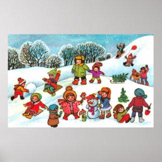 Crianças que jogam na neve poster