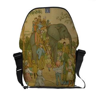 Crianças que montam no elefante (litho) bolsas mensageiro