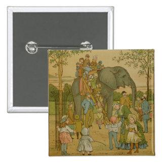 Crianças que montam no elefante (litho) bóton quadrado 5.08cm