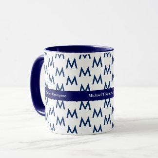 criar seu próprio azul do monograma da caneca
