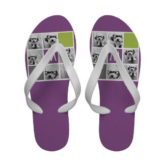 Criar seu próprio monograma do costume da colagem  sandálias de dedo