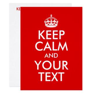 Criar seus próprios mantêm a calma e o seu texto convite 16.51 x 22.22cm