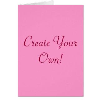 Criar seus próprios rosa e branco mim cartão