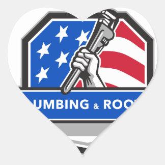 Crista da bandeira dos EUA da chave de tubulação Adesivo Coração