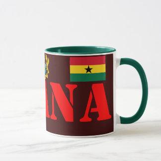 Crista de GHANA* e caneca de café da bandeira