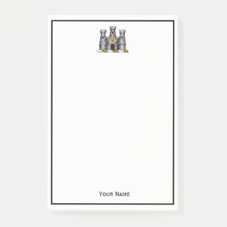 Crista heráldica da brasão do emblema do castelo bloco de notas