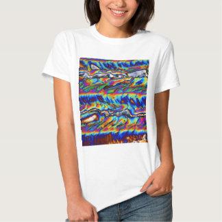 Cristais do acetato do zinco sob o microscópio t-shirt
