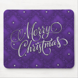 Cristais no Feliz Natal roxo acolchoado Mouse Pad