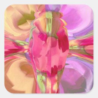 Cristal cor-de-rosa da borboleta adesivo quadrado