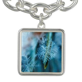 Cristal de gelo, inverno, neve, natureza braceletes com charm