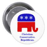 Cristão. Conservador. Republicano Pins