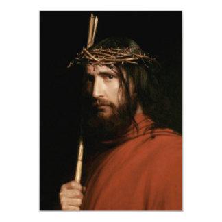 Cristo com espinhos. Cartões customizáveis das Convite 12.7 X 17.78cm