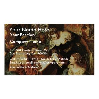 Cristo com Mary e Martha por Tintoretto Jacopo ( Modelos Cartao De Visita