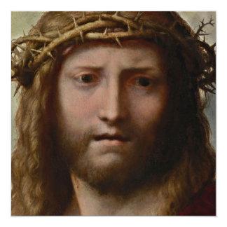 Cristo e coroa de espinhos convite quadrado 13.35 x 13.35cm