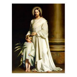 Cristo e criança. Cartão da páscoa das belas artes Cartões Postais