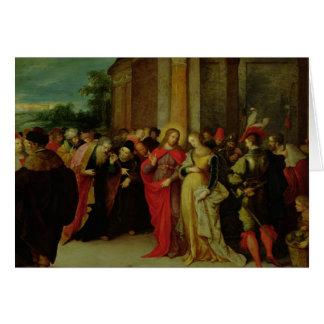 Cristo e o adultèrio recolhido mulher cartão comemorativo
