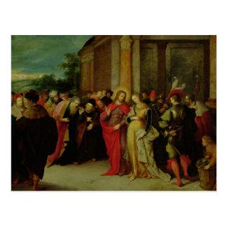 Cristo e o adultèrio recolhido mulher cartão postal