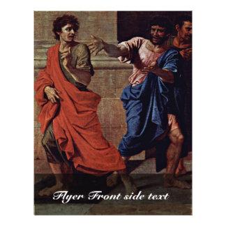 Cristo e o detalhe do Adulteress por Poussin Nicol Panfletos Personalizados
