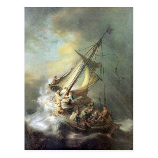Cristo em uma tempestade no mar de Galilee - Rembr Cartoes Postais