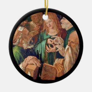 Cristo entre os doutores c1506 ornamento de cerâmica redondo