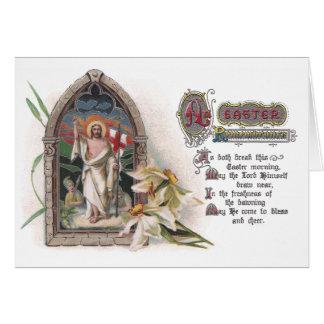 Cristo na janela da igreja da páscoa com narciso cartão comemorativo