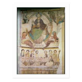 Cristo na majestade com os quatro símbolos evangél cartão postal