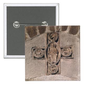 Cristo na majestade com símbolos do bóton quadrado 5.08cm