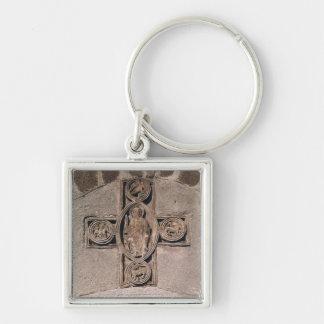 Cristo na majestade com símbolos do chaveiro quadrado na cor prata