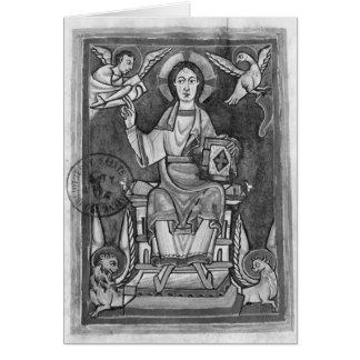 Cristo na majestade, de um Benedictional Cartao