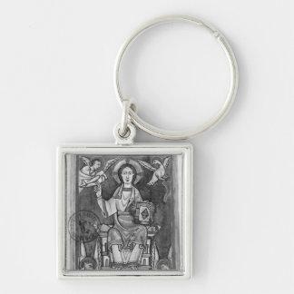 Cristo na majestade, de um Benedictional Chaveiro Quadrado Na Cor Prata