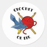 Crochet ou morra tatuagem adesivo em formato redondo