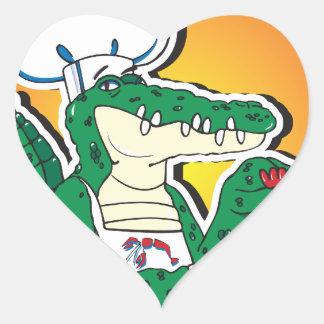 Crocodilo de Cajun do carnaval Adesivo Em Forma De Coração