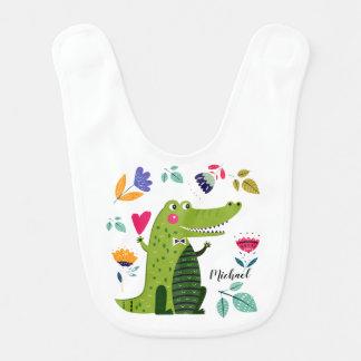 Crocodilo engraçado com o babador conhecido feito