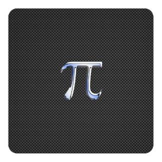 Cromo como o símbolo do Pi no impressão da fibra Convite Quadrado 13.35 X 13.35cm