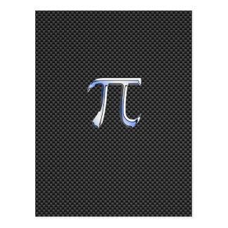 Cromo de prata como o símbolo do Pi no impressão Cartão Postal