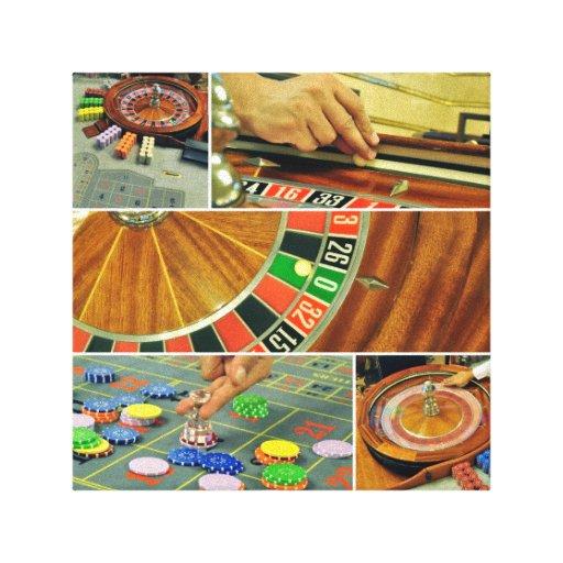 croupier da colagem do jogo de mesa da roleta do c impressão de canvas envolvidas