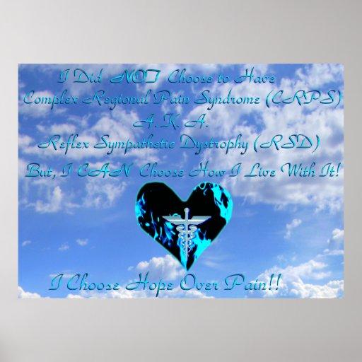 CRPS/RSD eu escolho a esperança sobre o céu azul & Poster