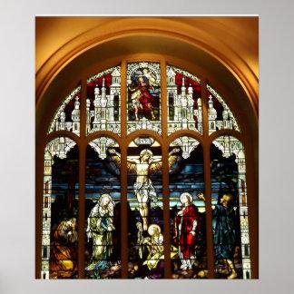 Crucificação - Jesus na cruz - vitral Poster