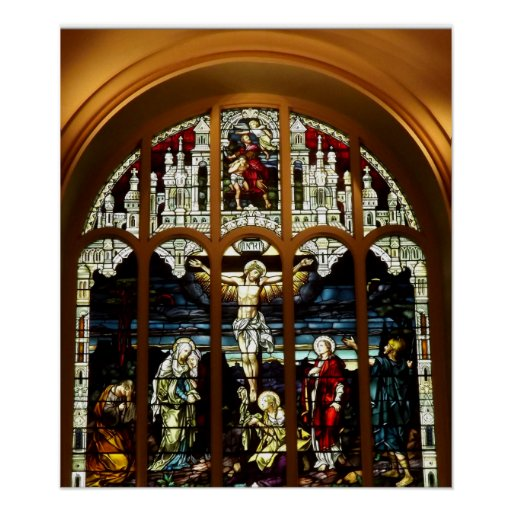 Crucificação - Jesus na cruz - vitral Posters