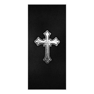 Crucifixo metálico no couro preto 10.16 x 22.86cm panfleto